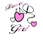 Pink Hearts Flower Girl Tees and Gifts