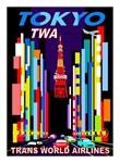 TWA Tokyo Art Deco Vintage Air Travel Poster Print