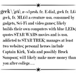 Geek, A Definition on Whilte