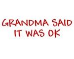 GRANDMA SAID IT WAS OK FUNNY KIDS T-SHIRT