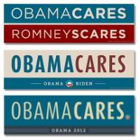 Obama Cares, Romney Scares Bumper Stickers