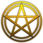 Gold Metal Pagan Pentacle