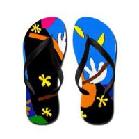 Colorful One Of A Kind Flip Flops