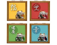 Japanese Fortune Cat Tile Boxes