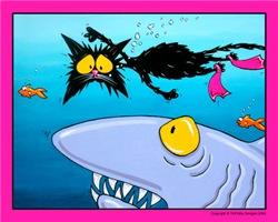 Swimming Shark Attack Cat