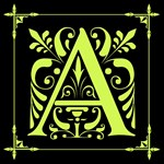 Chartreuse and Black Ornate Monogram Tote