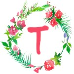 Whimsical Watercolor Flower Wreath Totes A to Z
