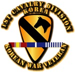Army - 1st Cavalry Div w Korean War SVC Ribbons
