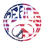 Red White and Blue Groovy Peace Sign