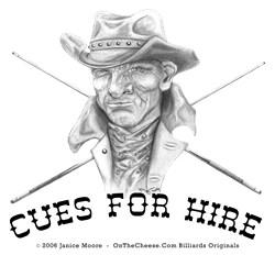 Cues For Hire, Billiard Gunslinger T-shirts