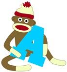 Sock Monkey Monogram Boy A