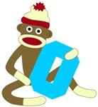 Sock Monkey Monogram Boy O