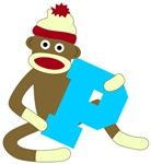 Sock Monkey Monogram Boy P