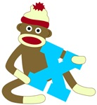 Sock Monkey Monogram Boy X
