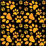 Paw Print Pattern Orange Yellow