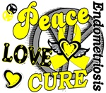 Peace Love Cure 2 Endometriosis Shirts and Gifts