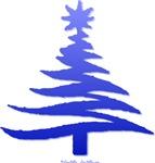 Stencil Christmas Tree Blue