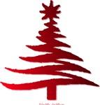 Stencil Christmas Tree Red