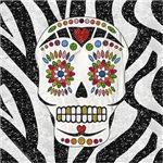Sugar Skulls Zebra Print