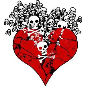 Broken Heart With Skulls