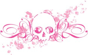 Pink Skull With Spatters And Swirls