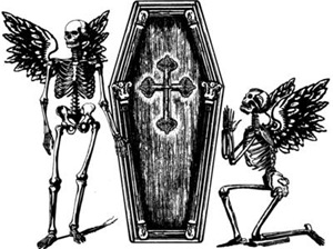 Winged Skeletons And Coffin