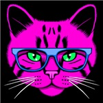 Hipster Cat Neon Pink
