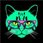 Hipster Cat Neon Green