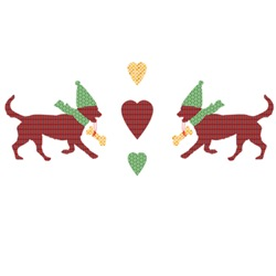 Cute Christmas Dogs Patchwork Style