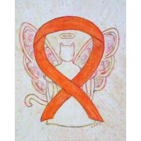 Orange Cat Awareness Ribbon Angel