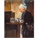 Mrs Hudson serves tea.