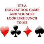 a funny card player joke on gifts and t-shirts