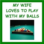 a funny billiards joke on gift sand t-shirts.