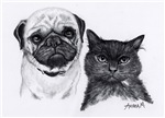 Pug & Cat in Charcoal