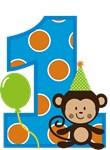 Monkey First Birthday Boy
