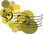 Music Clefs Heart and Golden Yellow Dots