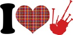 I Love Bagpipes Music Pipes Rock Tshirt Gifts