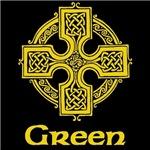 Green Celtic Cross (Gold)