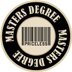 Masters Degree Priceless Bar Code T-shirts Gifts