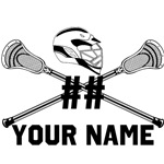Personalized Crossed Lacrosse Sticks with Helmet W