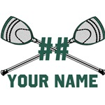 Personalized Crossed Goalie Lacrosse Sticks Green