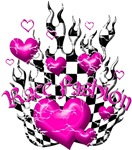 Red Heart on Checkered Flames with cracks DESIGN