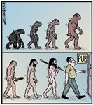 Man's Evolution to the Pub