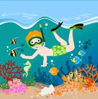 Boy Swimming Tropical Sea