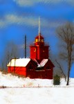 Big Red Lighthouse Christmas Card