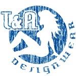 T&A Designwear distressed logo (blue print)