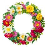 Floral Wreath  - Pink, White, Yellow and Red Roses