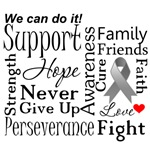 Brain Cancer Supportive Words Shirts and Gifts