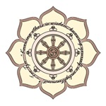 Dharma Wheel with Lotus Flower and quote by Tao Tz
