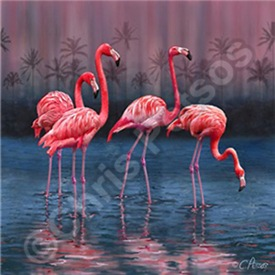 Tropical Flamingo Scene